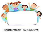 illustration of kids peeping... | Shutterstock .eps vector #524330395