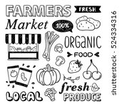 farmers market hand drawn... | Shutterstock .eps vector #524334316