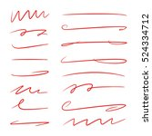 red hand drawn brush lines ... | Shutterstock .eps vector #524334712