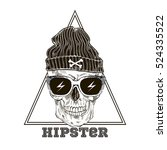 hand drawn hipster scull in... | Shutterstock .eps vector #524335522