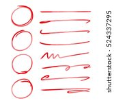 red hand drawn circle and brush ... | Shutterstock .eps vector #524337295