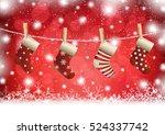 christmas stocking on winter... | Shutterstock .eps vector #524337742