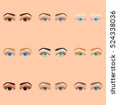 female eyes and brows icons... | Shutterstock .eps vector #524338036