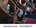 men and women practicing yoga... | Shutterstock . vector #524338315