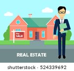 real estate broker at work.... | Shutterstock .eps vector #524339692