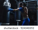 young sportsman with a punching ... | Shutterstock . vector #524340352