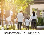 asian family are going out of... | Shutterstock . vector #524347216