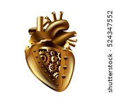 steampunk human heart isolated... | Shutterstock .eps vector #524347552