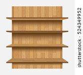 empty shelves on the wooden... | Shutterstock .eps vector #524349952