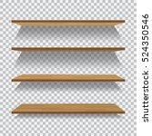 vector empty wooden shelf... | Shutterstock .eps vector #524350546