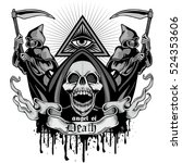 gothic coat of arms with skull  ... | Shutterstock .eps vector #524353606