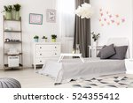 view of bright bedroom with... | Shutterstock . vector #524355412