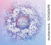 round snow frame with merry... | Shutterstock .eps vector #524360698