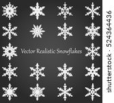 vector realistic snowflakes set.... | Shutterstock .eps vector #524364436