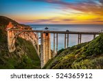 Stock photo bixby bridge rocky creek bridge and pacific coast highway at sunset near big sur in california 524365912