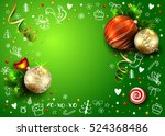 christmas green vector card... | Shutterstock .eps vector #524368486