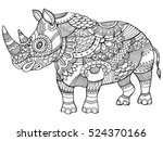 Rhinoceros Coloring Book For...