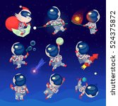 set of cute astronauts in space ... | Shutterstock .eps vector #524375872