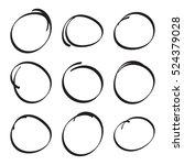 set hand drawn ovals  felt tip...   Shutterstock .eps vector #524379028