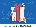 christmas gifts and presents... | Shutterstock .eps vector #524381446