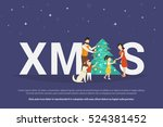 xmas concept illustration of... | Shutterstock .eps vector #524381452