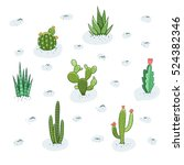 cactus and succulent field | Shutterstock .eps vector #524382346