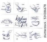 doodle set of kitchen steps  ... | Shutterstock .eps vector #524386678