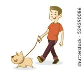 young man walking dog  isolated ... | Shutterstock .eps vector #524390086