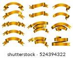 set of gold ribbons.golden... | Shutterstock .eps vector #524394322