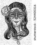 woman with sugar skull makeup ... | Shutterstock .eps vector #524400316