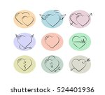 heart icon set. outline... | Shutterstock .eps vector #524401936