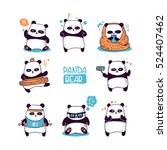 set of hand drawn panda doodles ... | Shutterstock .eps vector #524407462