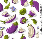 seamless pattern with eggplants ... | Shutterstock .eps vector #524407882