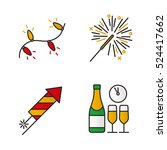 christmas color icons set. new... | Shutterstock .eps vector #524417662