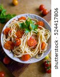 spaghetti with tomato sause and ... | Shutterstock . vector #524417806
