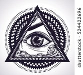 all seeing eye pyramid symbol... | Shutterstock .eps vector #524422696