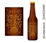 vector beer label with floral...   Shutterstock .eps vector #524423485