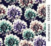 psychedelic vintage floral... | Shutterstock . vector #524424892