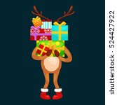 christmas deer with banner... | Shutterstock .eps vector #524427922