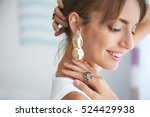 beautiful woman with stylish... | Shutterstock . vector #524429938