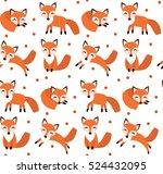 Cute Fox Seamless Pattern. Fox...