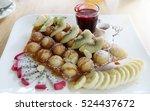 wafers banana kiwi dragon fruit ... | Shutterstock . vector #524437672