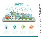 smart city on a digital tablet... | Shutterstock .eps vector #524444896