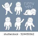 funny yeti set.  | Shutterstock .eps vector #524450362