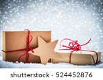 retro rustic christmas gifts ... | Shutterstock . vector #524452876