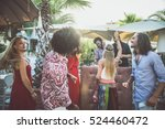 friends dancing in a lounge bar ...   Shutterstock . vector #524460472