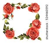wildflower rose flower frame in ... | Shutterstock . vector #524460592