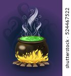 the cauldron with potion.... | Shutterstock .eps vector #524467522