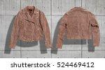 Short Beige Suede Jacket With...