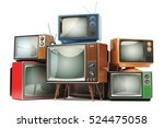 Heap Of Retro Tv Sets Isolated...